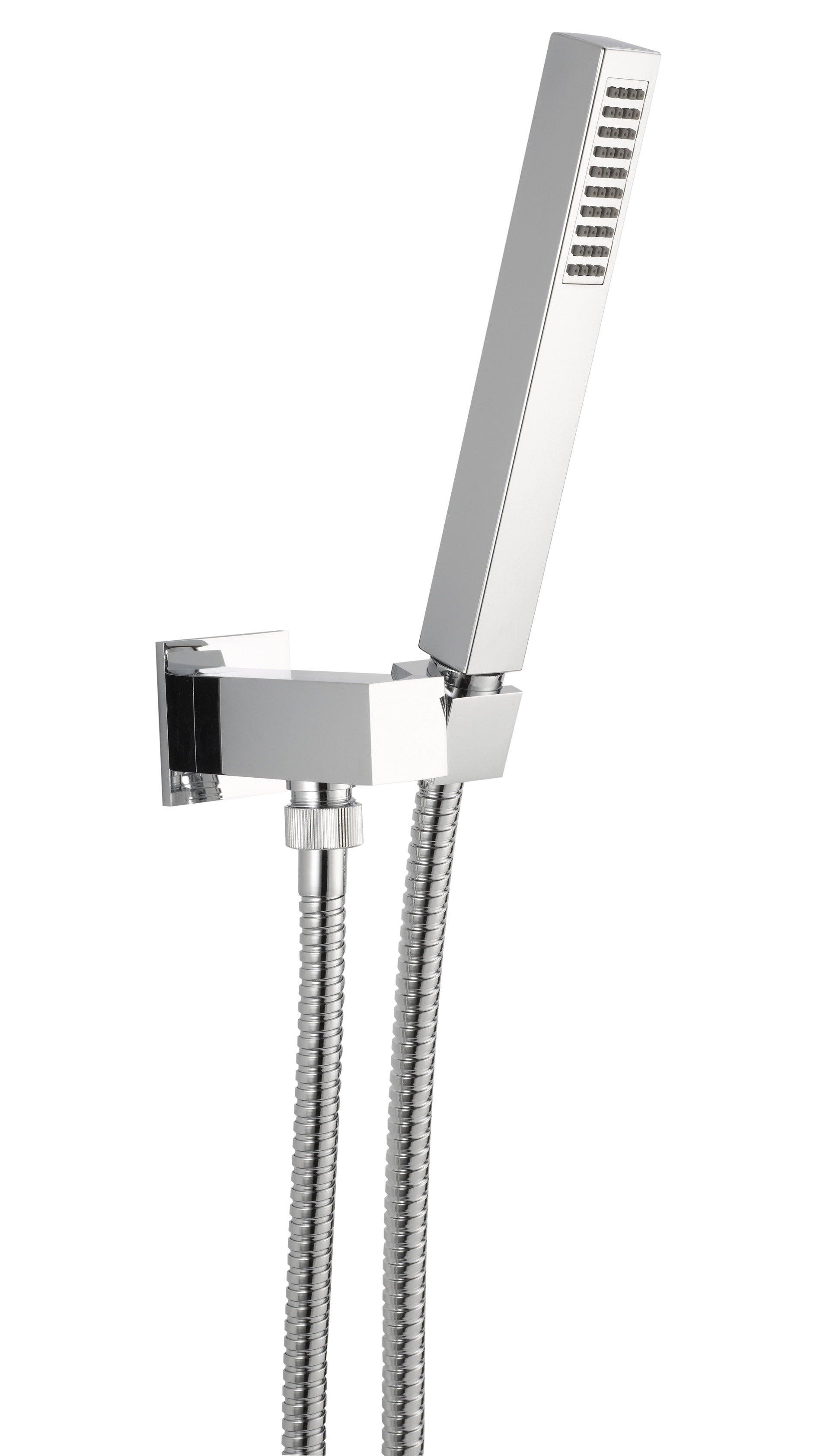 Wall water outlet with support, flexible and brass hand shower, chrome