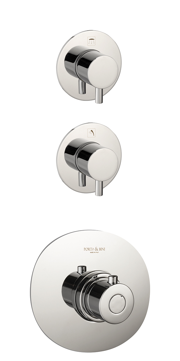 Thermostatic built-in shower mixer Form A with two control devices, chrome