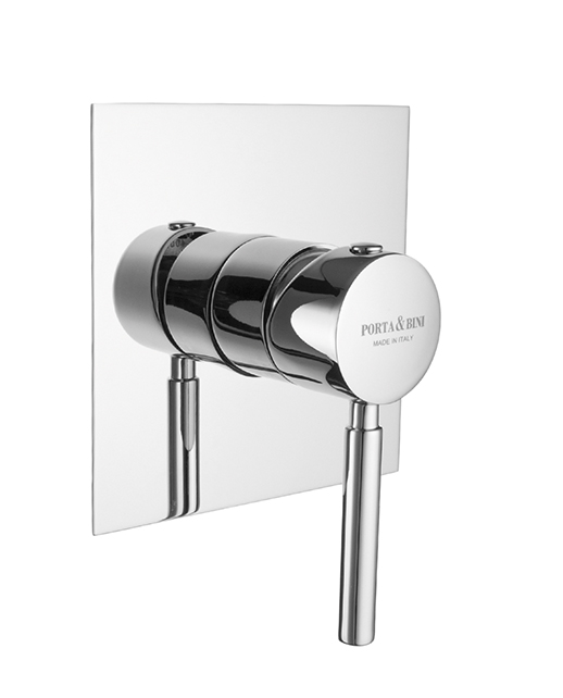 Built-in shower mixer invisible gasket square plate, chrome