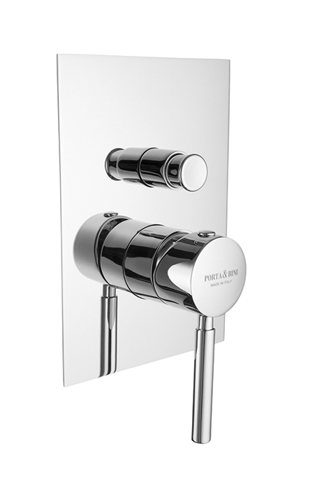 Built-in shower mixer with diverter invisible gasket square plate, chrome