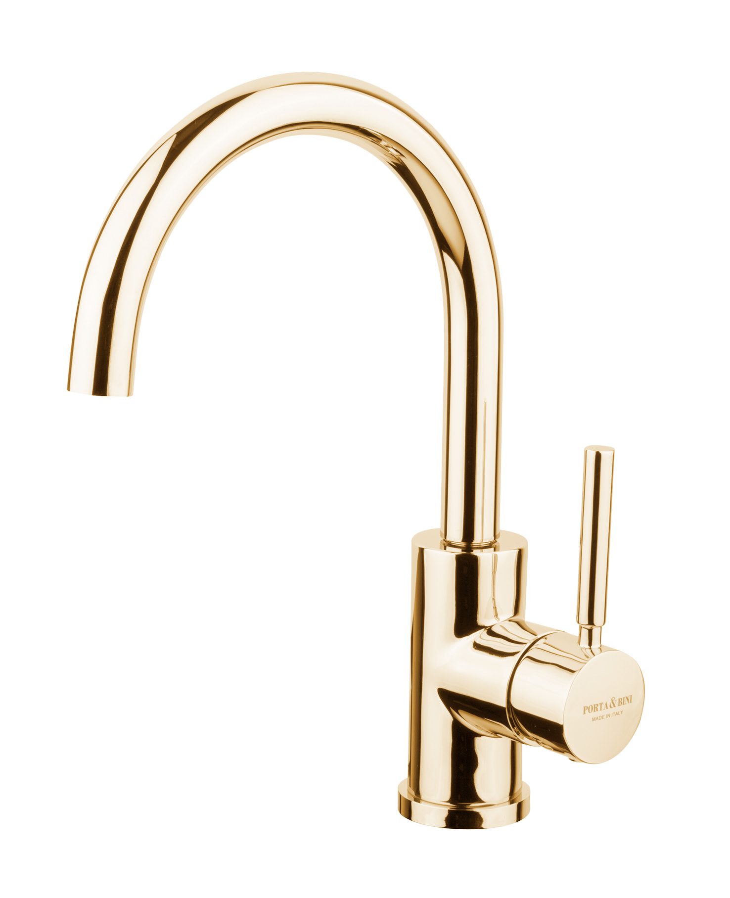 Single lever basin mixer high spout with click-clack outlet, gold