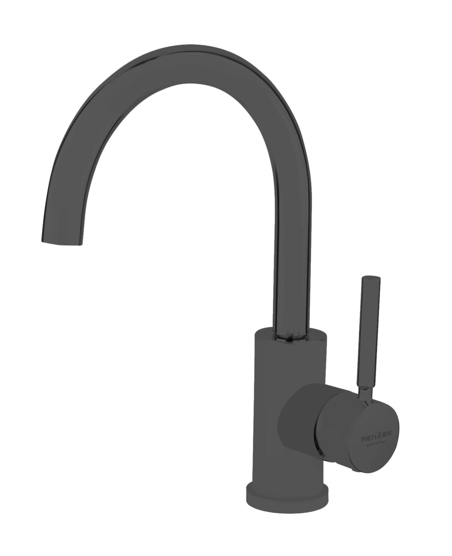 Single lever basin mixer high spout with click-clack outlet, mat black