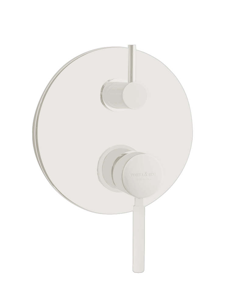built in shower mixer Form A with diverter, 3 water outlets, mat white