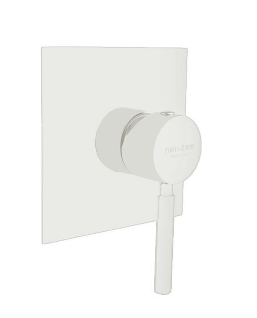 Built-in shower mixer invisible gasket square plate, mat white