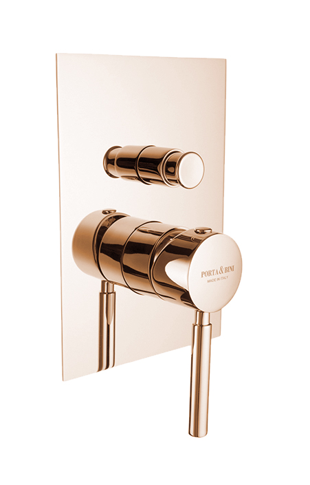 Built-in shower mixer with diverter invisible gasket square plate, pink gold