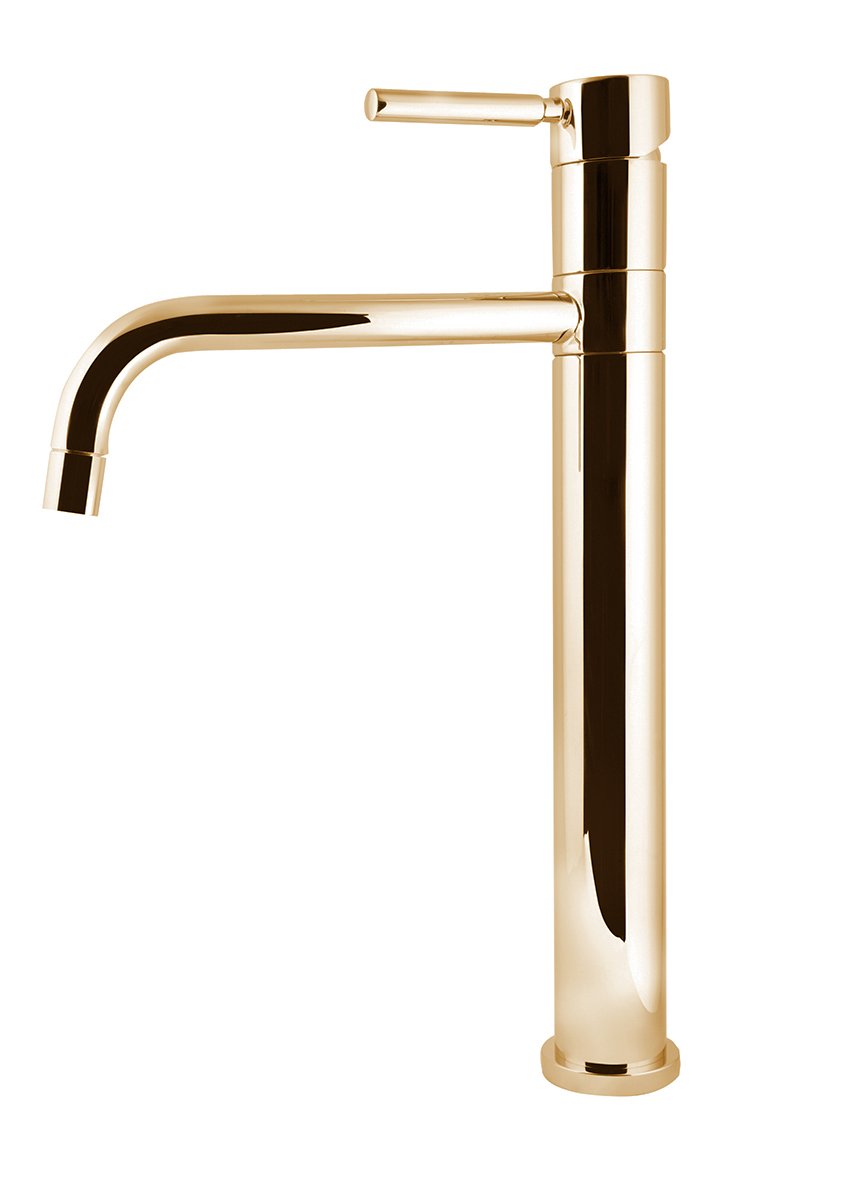 High single lever sink mixer swivel spout h.370 mm, gold