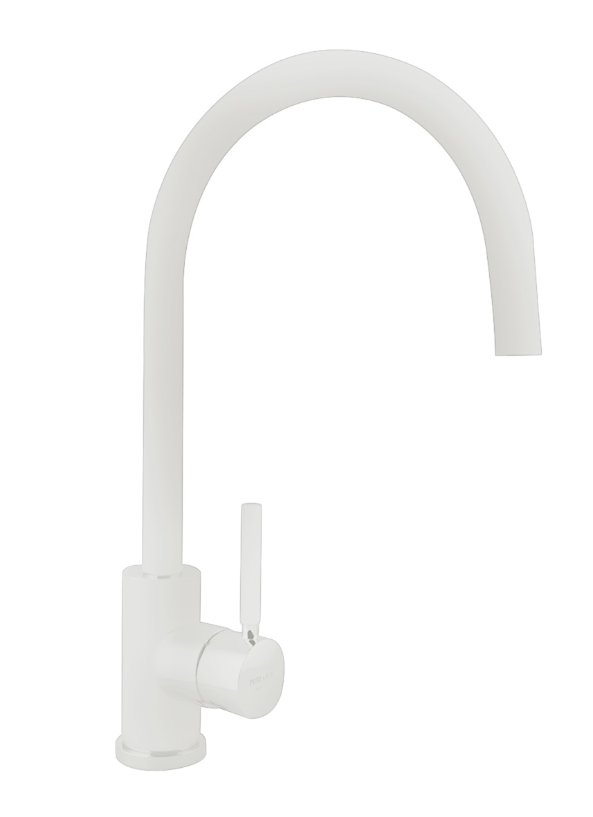kitchen mixer Form A with movable spout, mat white