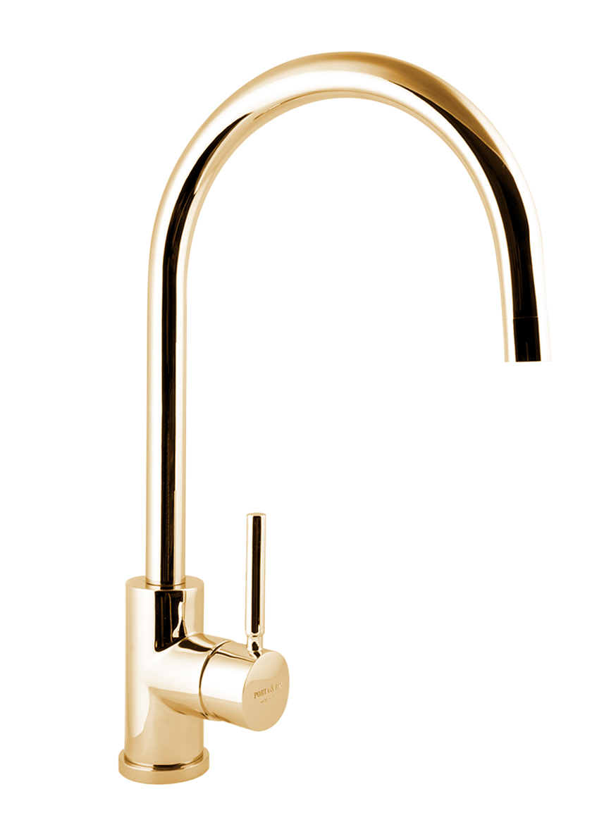 kitchen mixer Form A with movable spout, gold
