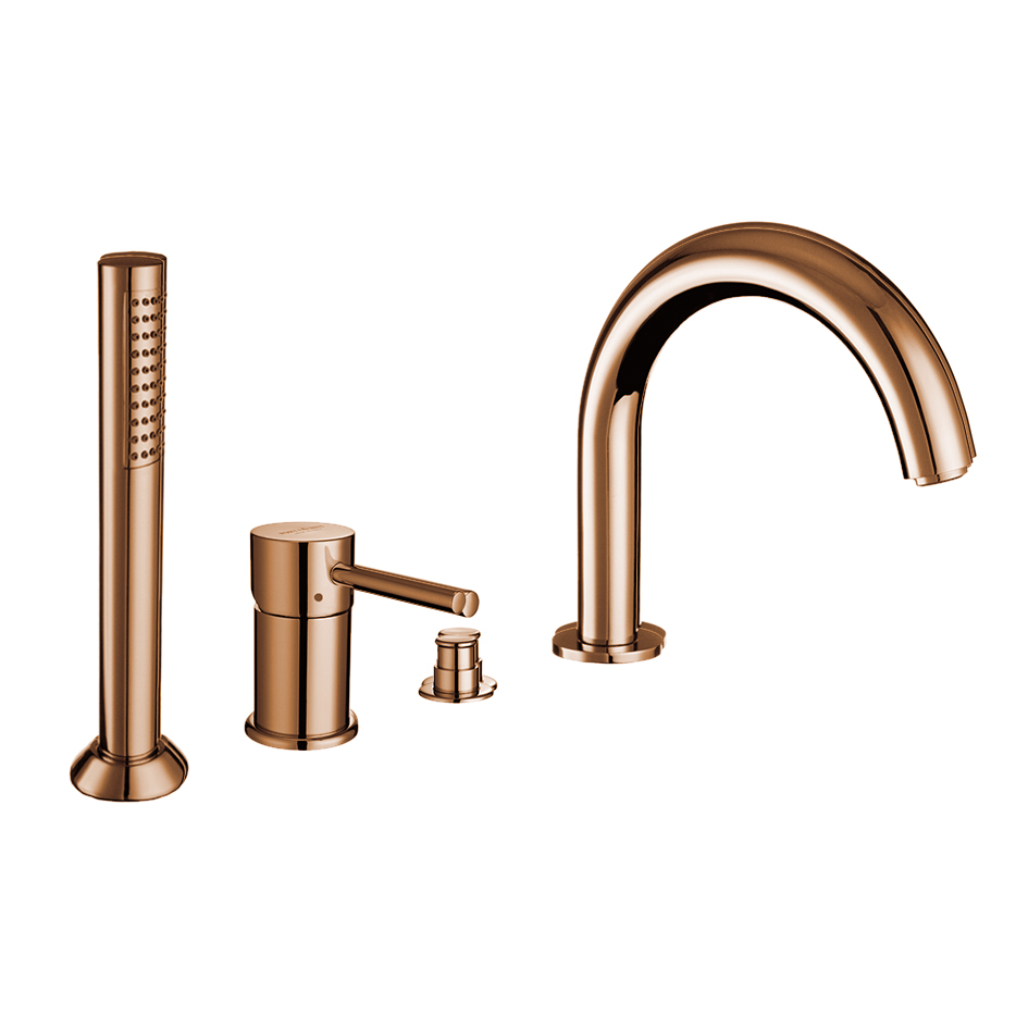 4-holes bath border mixer with diverter and spout, pink gold