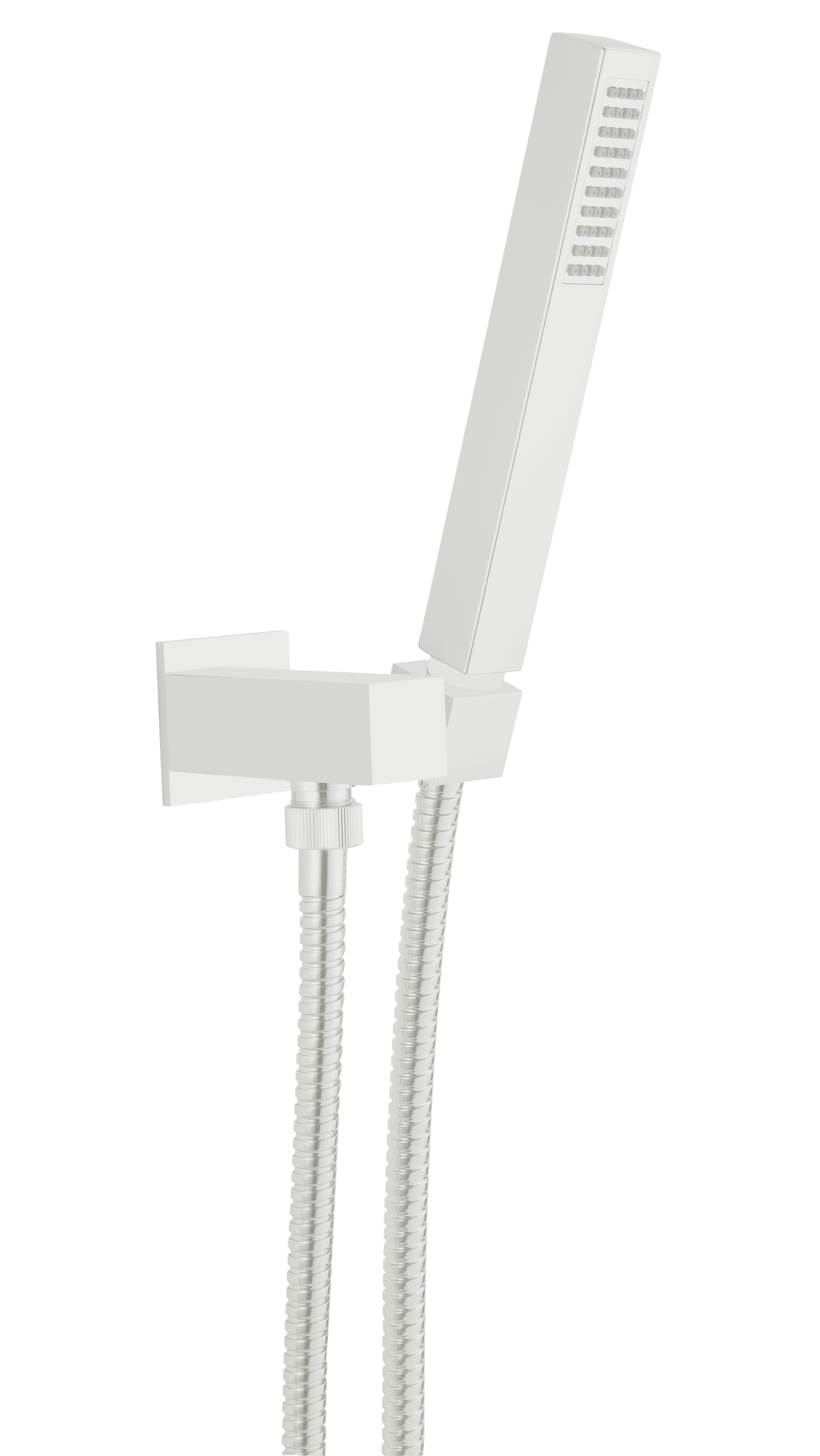 Wall water outlet with support, flexible and brass hand shower, mat white