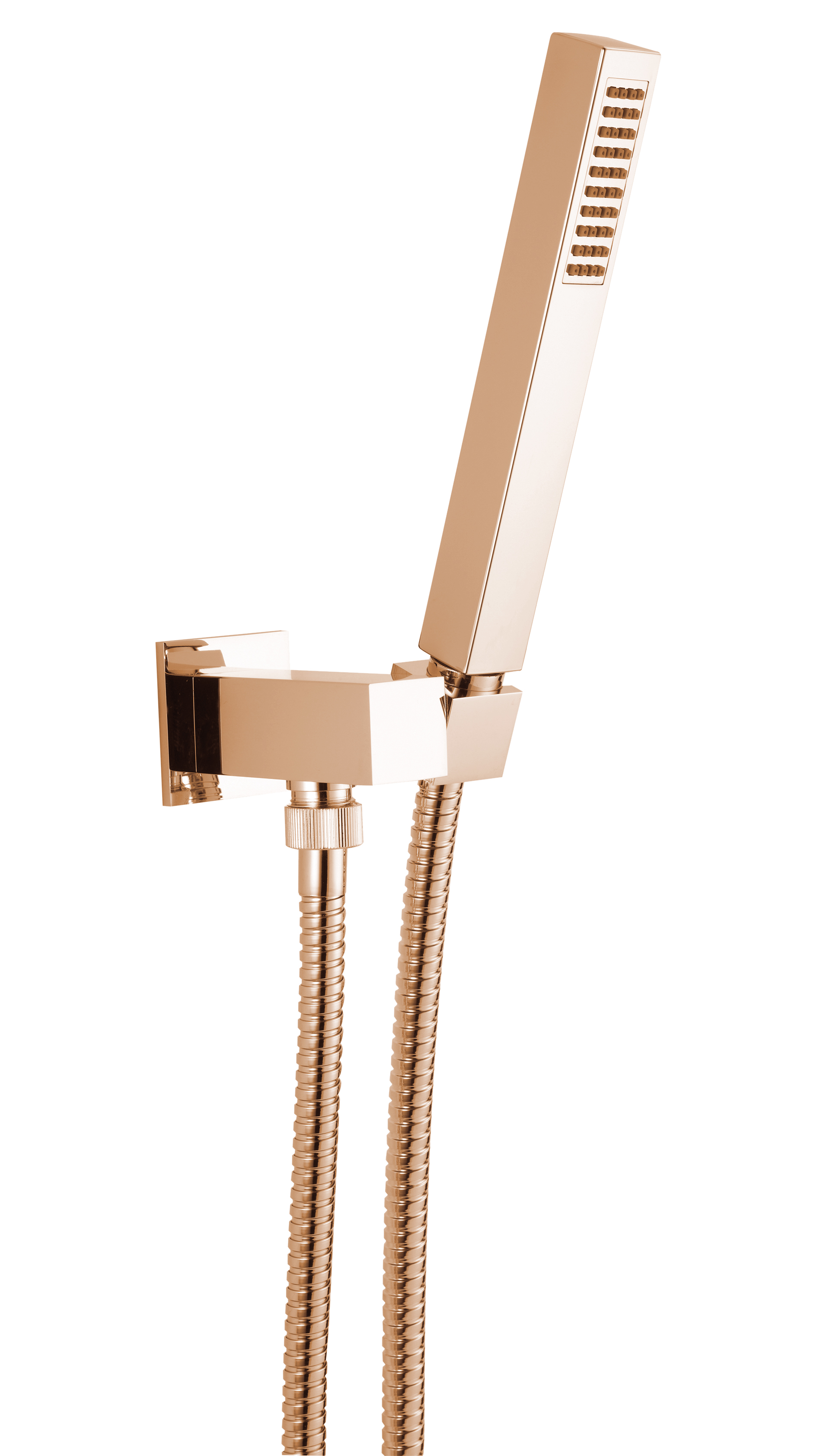 Wall water outlet with support, flexible and brass hand shower, pink gold