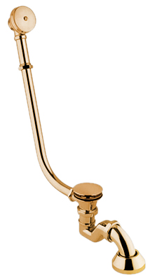 external bath tub complete of siphon with click clack outlet, gold