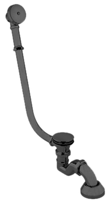 external bath tub complete of siphon with click clack outlet, mat black