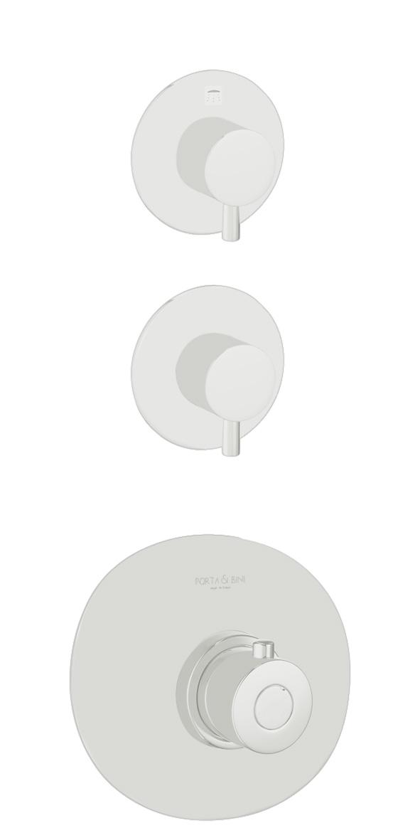 süvistatav termostaat segisti Form A, 2 veeväljundit, matt valge