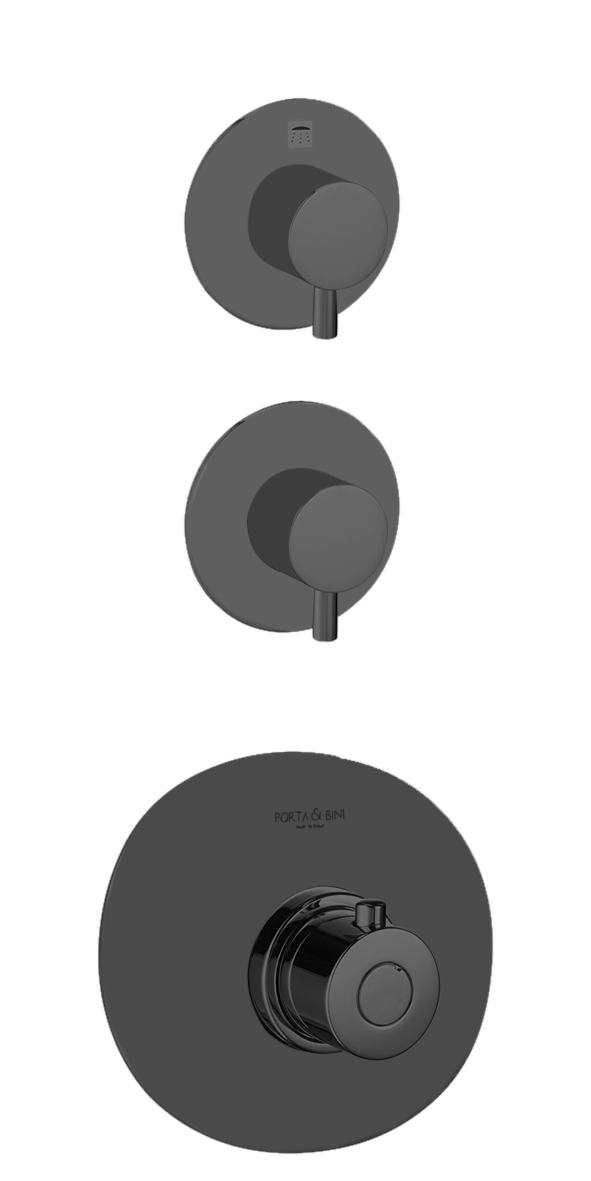 süvistatav termostaat segisti Form A, 2 veeväljundit, matt must