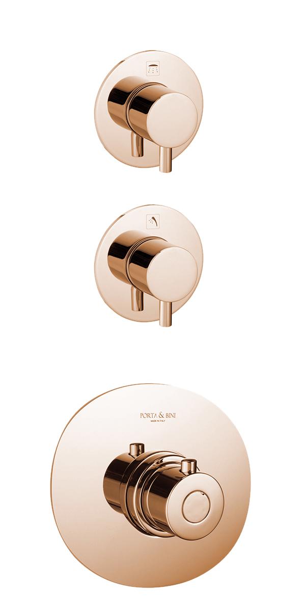 süvistatav termostaat segisti Form A, 2 veeväljundit, roosa kuld