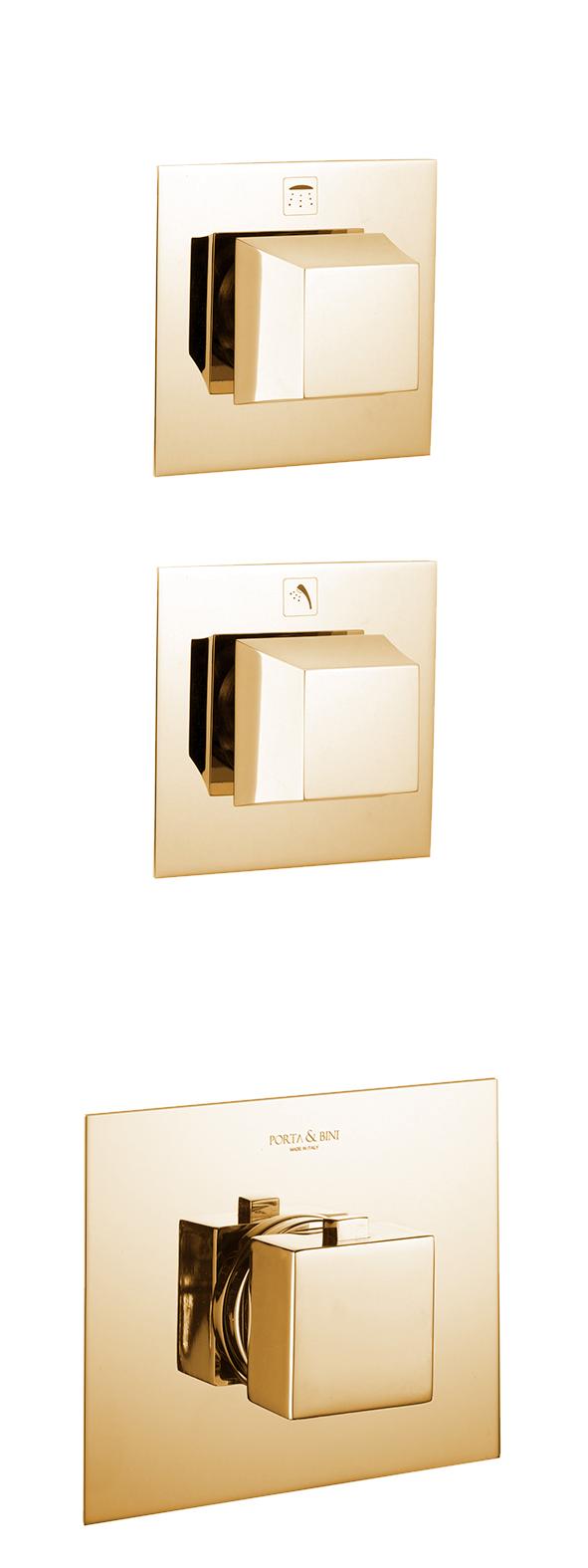 süvistatav termostaat segisti Pretty, 2 veeväljundit, kuld