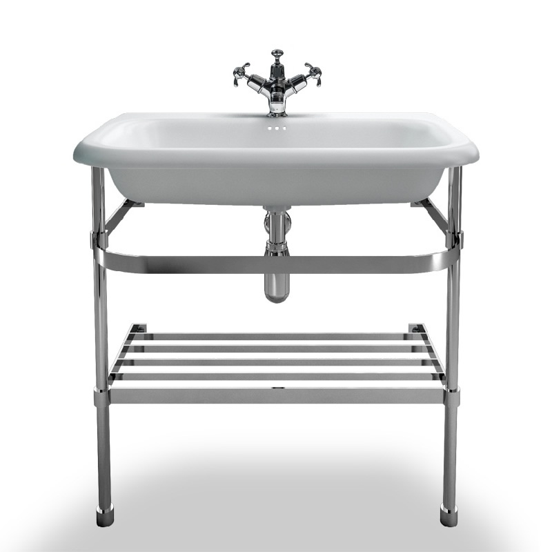 basin Burlington Natural Stone with stainless steel Stand, 75x47x88 cm