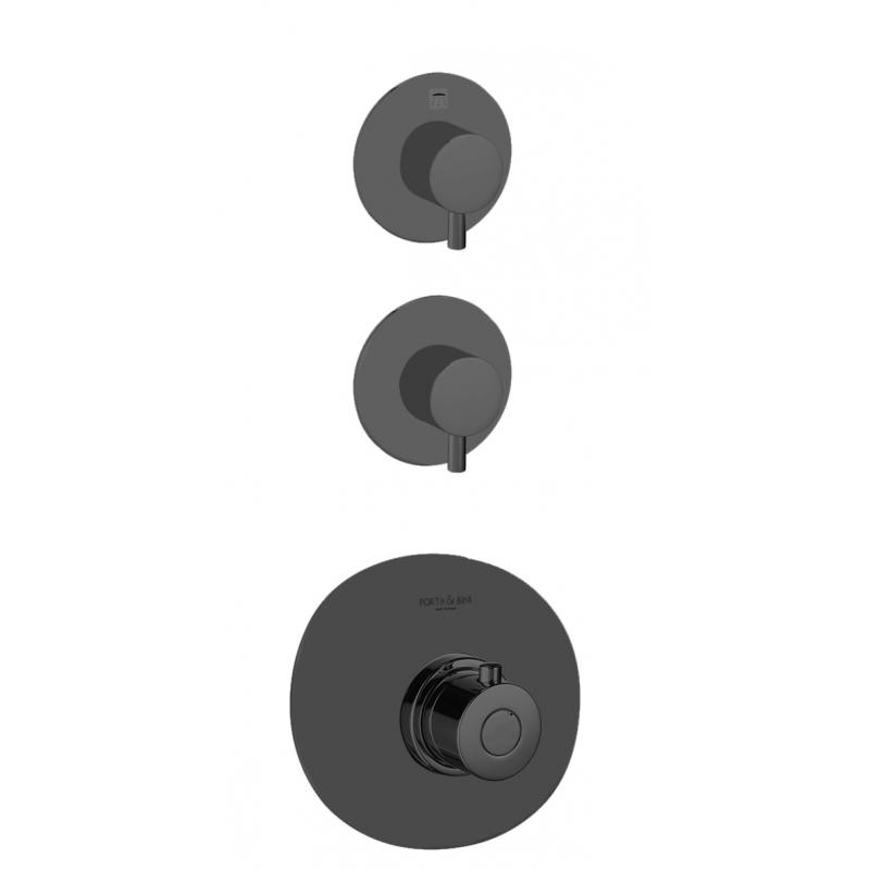 upotettava vaihtimella varustettu suihkuhana Form A, 2 vedenulostuloa, mattamusta