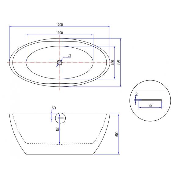 mattavalkoinen akrüüliamme Oval 170x78 cm