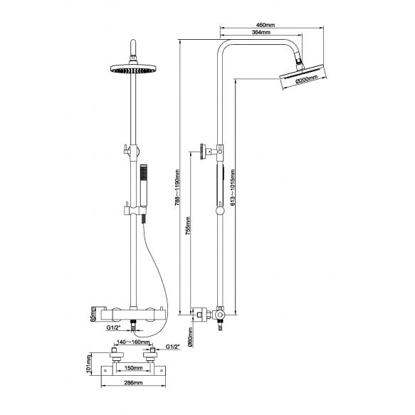 Sadesuihkusetti termostaattihanalla Interia Caral, harjattu kupari