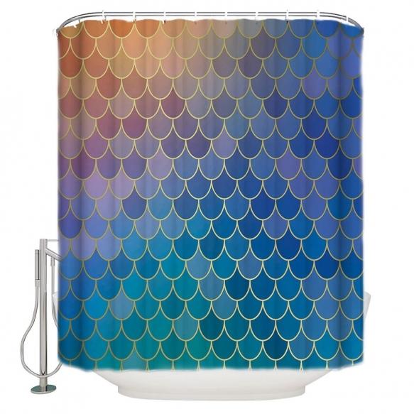 tekstiili suihkuverho Blue Diamonds 183x200 cm + suihkuverhon rengassetti