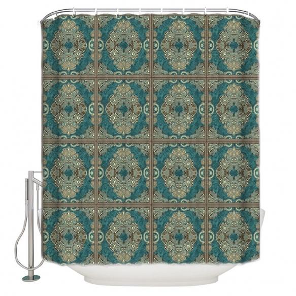 tekstiili suihkuverho Arabesque 183x200 cm + suihkuverhon rengassetti