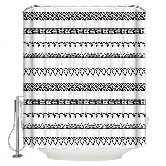 tekstiili suihkuverho BW Etno 183x200 cm + suihkuverhon rengassetti