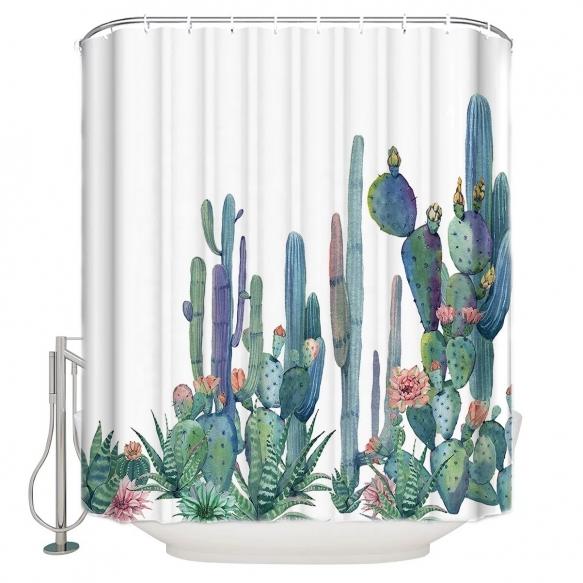 tekstiili suihkuverho Cactuses 183x200 cm + suihkuverhon rengassetti