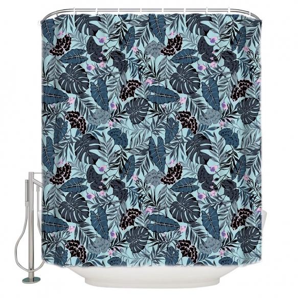 tekstiili suihkuverho Blue Florals 183x200 cm + suihkuverhon rengassetti