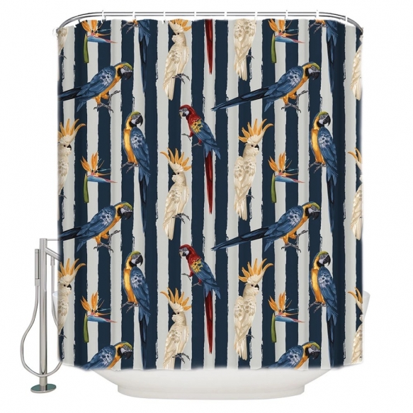 tekstiili suihkuverho Parrots 183x200 cm + suihkuverhon rengassetti