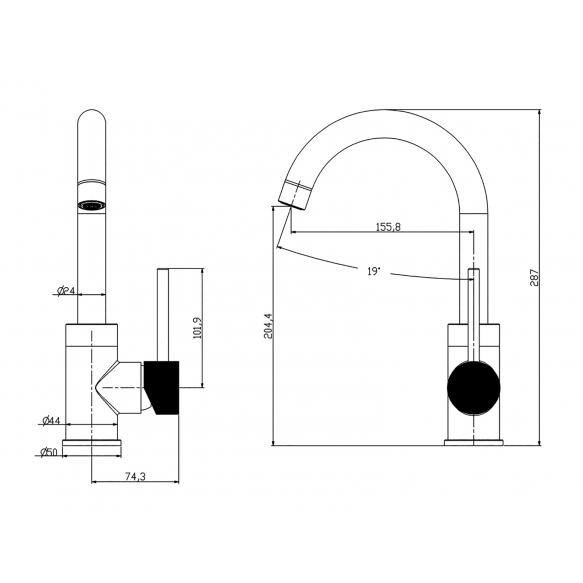 pesuallashana Interia Ribbed, kääntyvä juoksuputki, gunmetal (antrasiitti)