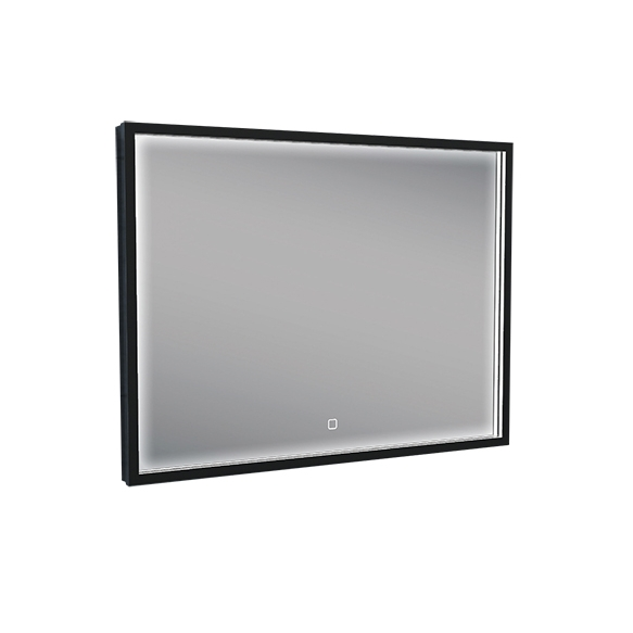 "LED peegel 80x60 cm, mat must, ""antifog"""