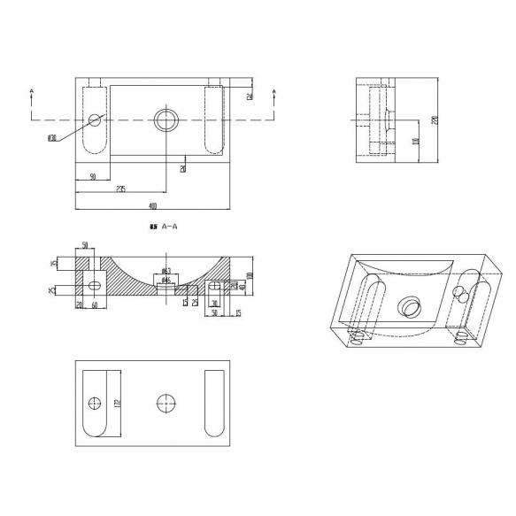 Pesuallas Interia 400x220x100 mm, luonnonkivi, musta, vasen