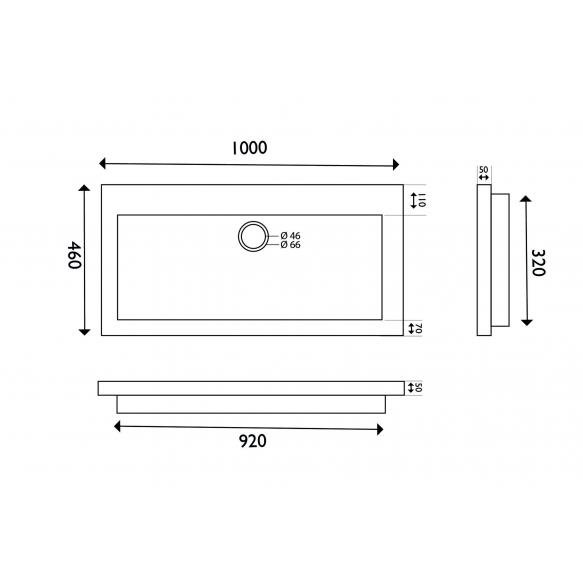 naturaalselt looduskivist mööblivalamu 100x46x5 cm, ilma segistiavata