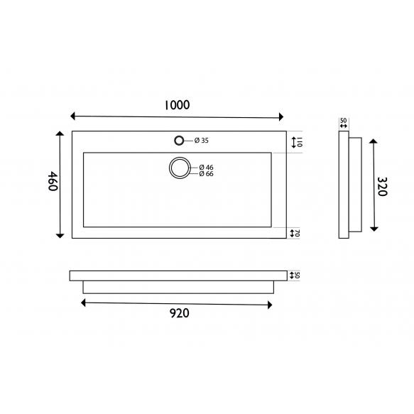 naturaalselt looduskivist mööblivalamu 100x46x5 cm, segistiavaga