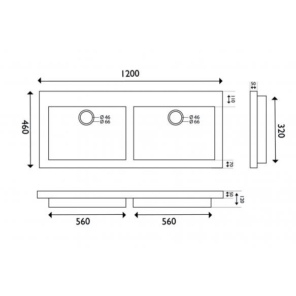 naturaalselt looduskivist mööblivalamu 120x46x5 cm, ilma segistiavata