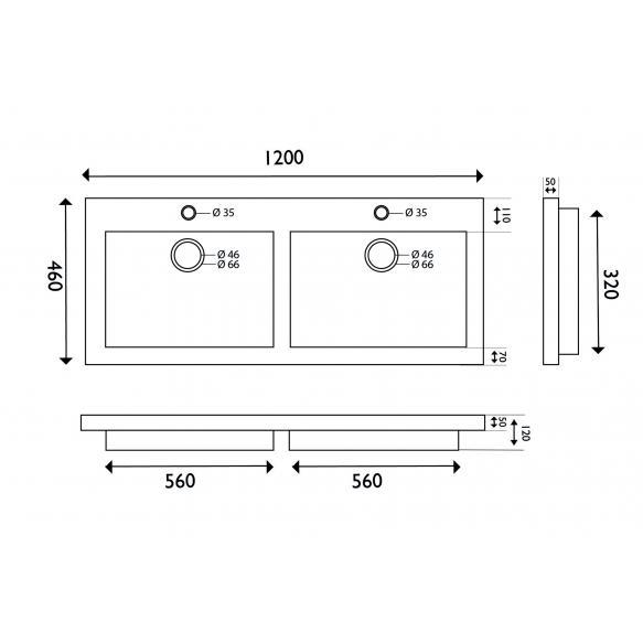 naturaalselt looduskivist mööblivalamu 120x46x5 cm, 2 segistiavaga