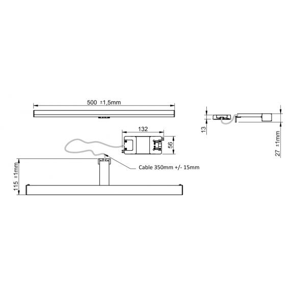 ALBA 4 LED valgusti 500x30x120mm, 6W, 230V, kroom
