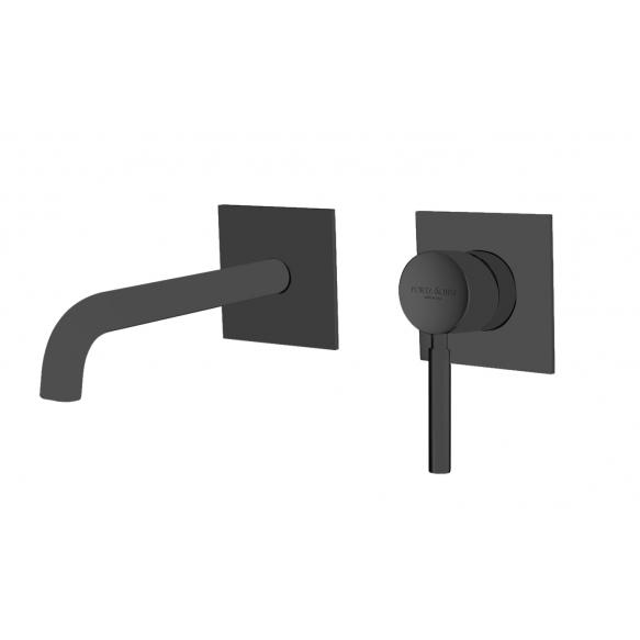 upotettava pesuallashana Form A seinälle, 20 cm juoksuputki, matta musta