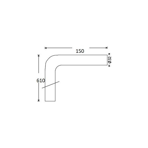 Lattiaputki Interia 4126, 610x150mm, Ø 32mm, kromi