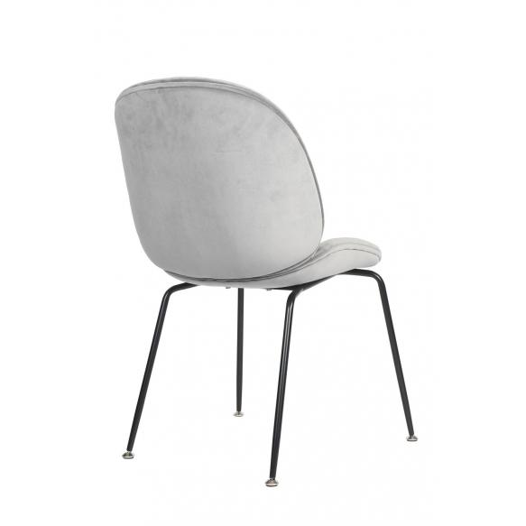 tuoli Selma, harmaa kangas, mustat metallijalat