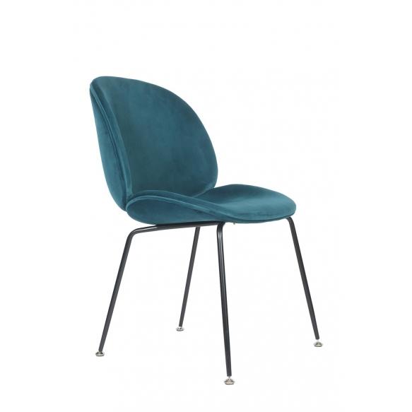 tuoli Selma, sininen kangas, mustat metallijalat