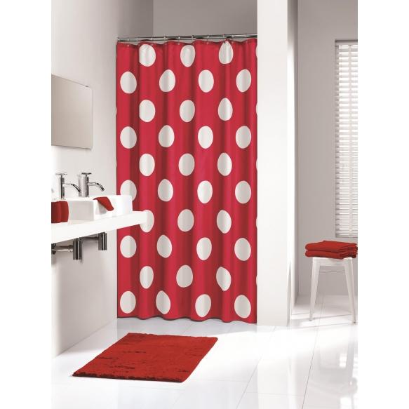 Suihkuverho POLKA, tekstiili, punainen