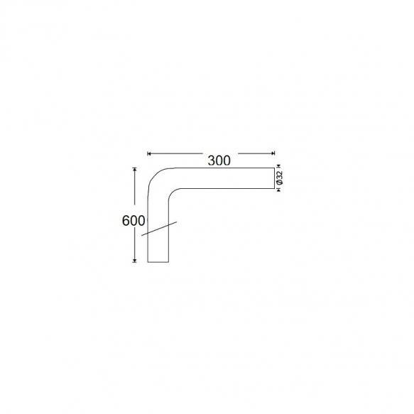 lattiaputki 600x300x32 mm, pronssi
