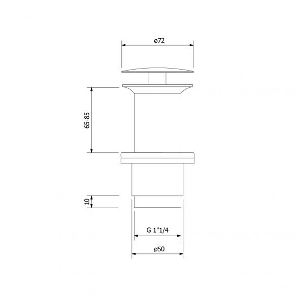 ei-suljettava pesualtaan pronssinen pohjaventtiili, V65-85 mm