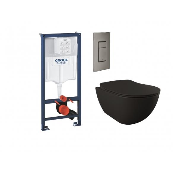 Seinä-WC-paketti Grohe Rapid SL + Creavit musta seinä-wc