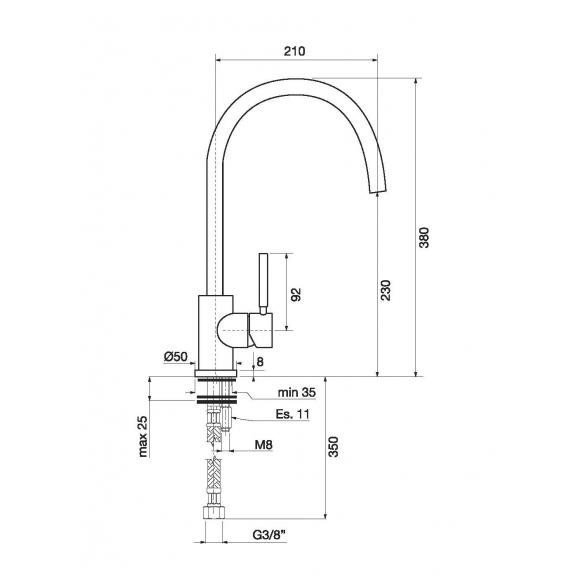 keittiöhana käännettävällä juoksuputkella Form A, PVD harjattu kupari