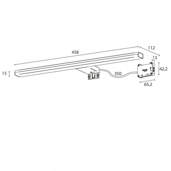 FELINA LED valgusti, 10W, 458x15x112mm, kroom