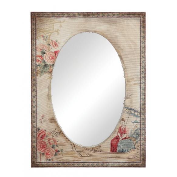 Kankaalla päällystetty puukehyksinen peili, joka on koristeltu vintage-tyylisellä kuvalla